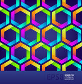 Abstract seamless background with colorful hexagons — Stock Vector