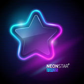 Vector illustration - Neon colorful star — Stock Vector