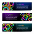 Abstract vector black banners with colorful shapes — Stock Vector
