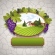 Vector vintage signboard with grapes and image of country landscape - Stock Vector