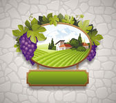 Vector vintage signboard with grapes and image of country landscape — Stock Vector