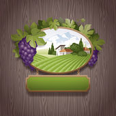 Vintage signboard with grapes and image of country landscape — Stock Vector