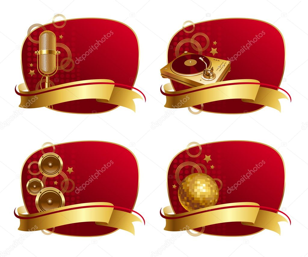 Vector red frames with golden musical equipments & banner  Stock Vector #6670434