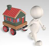 Movimento humano 3d uma casa com uma dolly ' s — Fotografia Stock