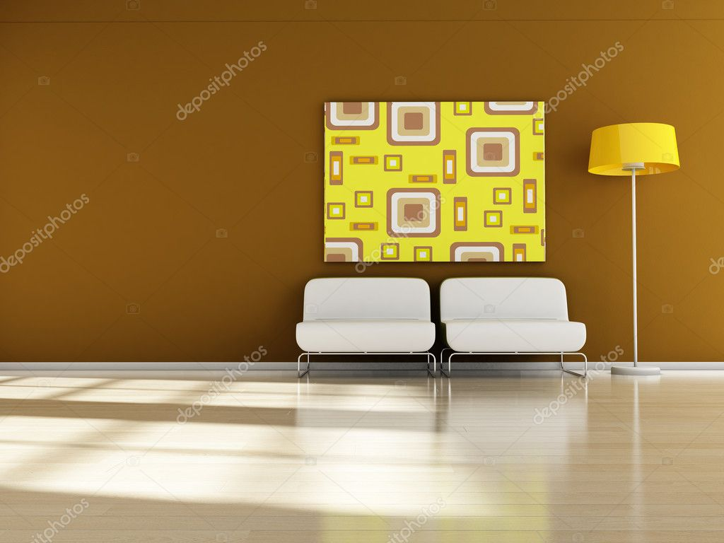 Modern interior (3D render) -  Retro Furniture — Stock Photo #6435886