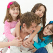 Father playing with children — Stock Photo #6091292