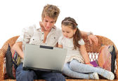 Father and child looking at laptop — Stock Photo