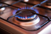 Natural gas burning in the kitchen — Stock Photo