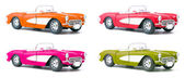 Set of four toy model cars — 图库照片