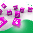 Symbols of percent cubes - Stock Photo