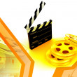 3d movie objects , clipper and reel roll — Stock Photo