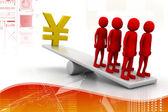 Segno di yen - concetto di equilibrio — Foto Stock