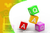Digital illustration of Faq cube in color background — Stock Photo