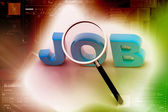 The word JOBS is magnified — Stock Photo