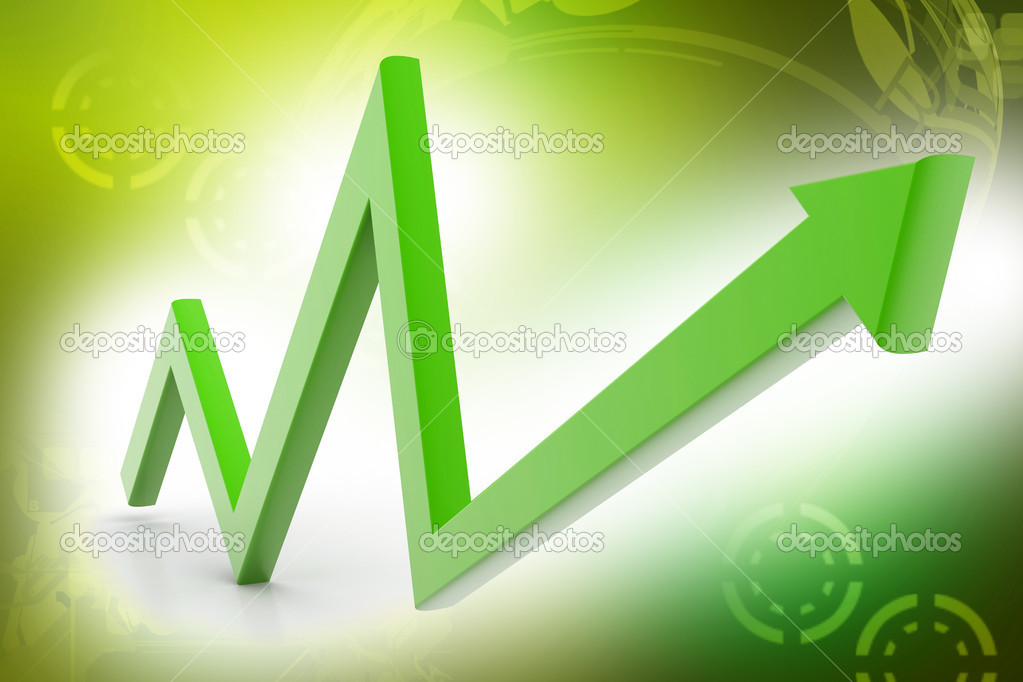 The arrow represented increasing marketing in color background  — Stock Photo #6262933