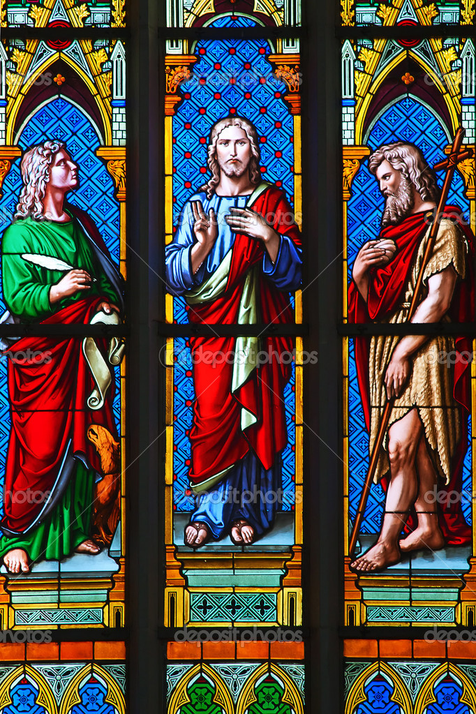 Stained glass window in Christian church — Stock Photo #6534520