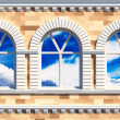 Facade  with three windows — Stock Photo