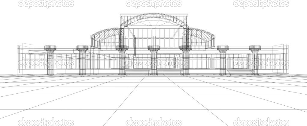 abstract 3d design sketch of office building photo by artyfree abstract 3d office building