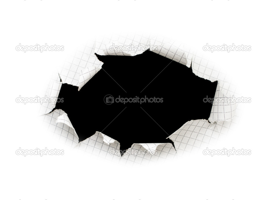 Black hole in a sheet of paper isolated — Stock Photo #5433737