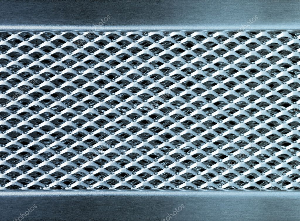 Blue metal texture industrial perforated plate — Stock Photo #5681151