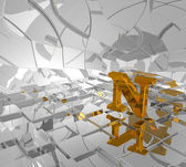 Golden letter n — Stock Photo
