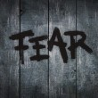 Fear on wooden planks — Stock Photo