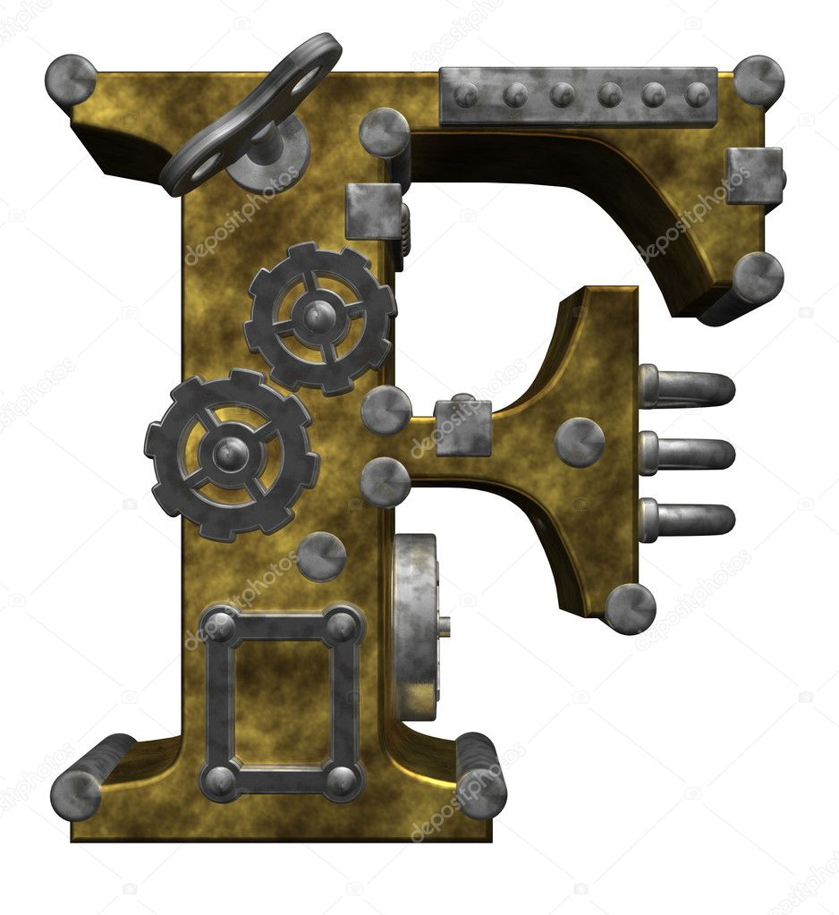 Steampunk letter f on white background - 3d illustration — Stock Photo #6706348