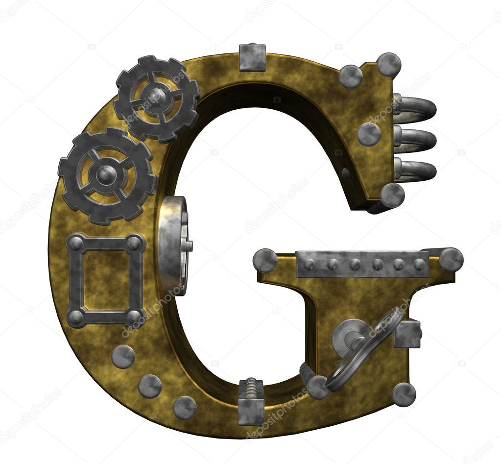 Steampunk letter g on white background - 3d illustration — Foto Stock #6744943