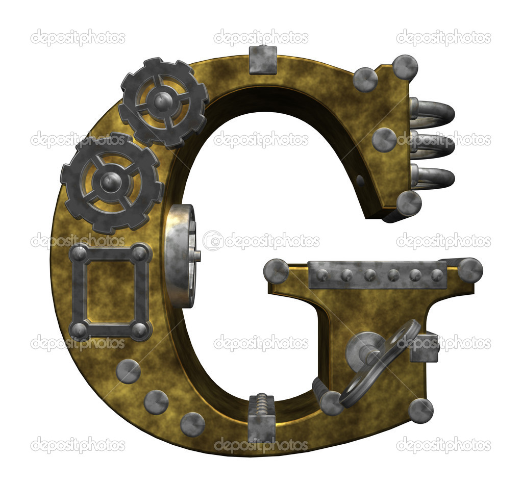 Steampunk letter g on white background - 3d illustration — 图库照片 #6744943