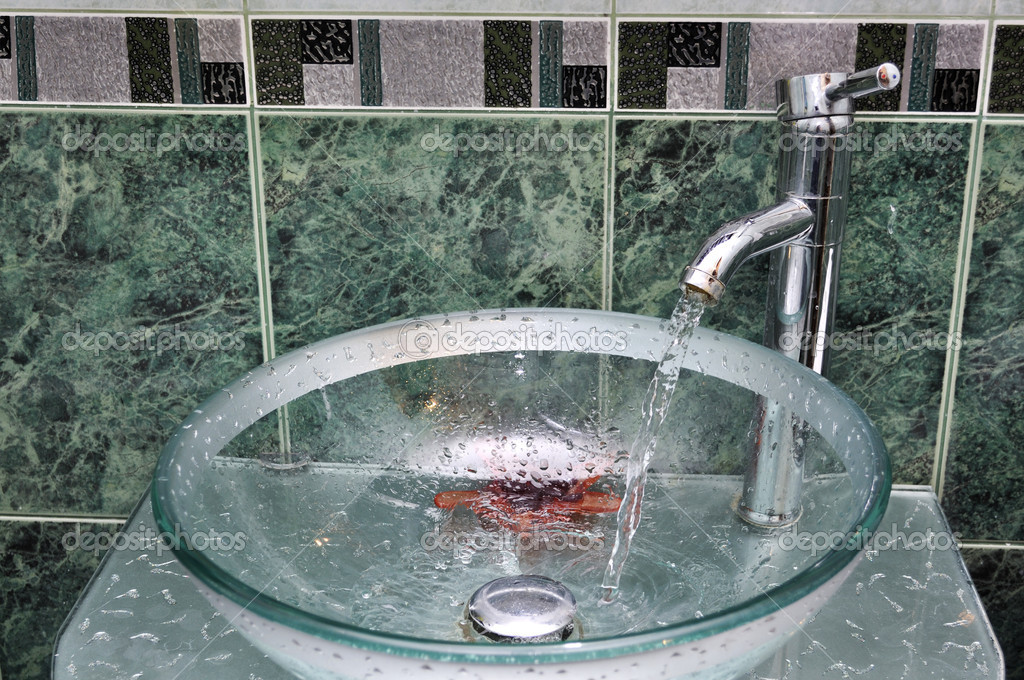 Sink And Tap And Pipes With Water Flow — Stock Photo © Surovtseva