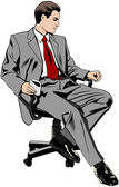 Businessman sitting on office chair — Stock Vector