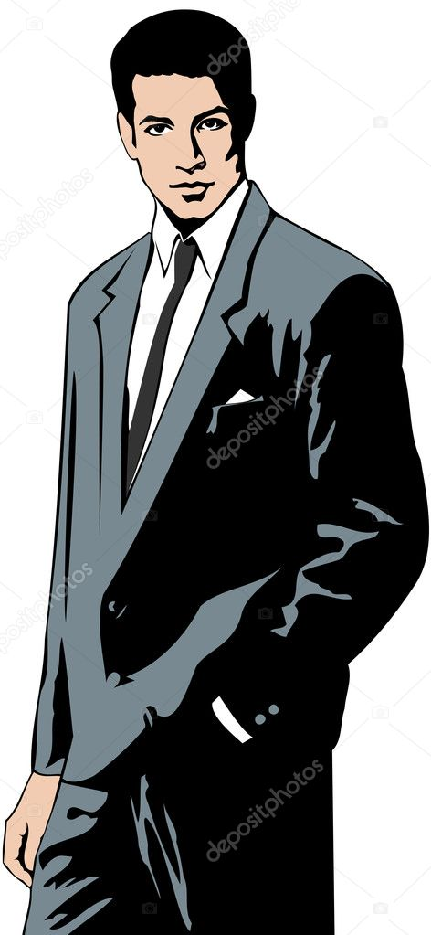 Vector illustration of a businessman dressed in gray suit and white shirt  Stock Vector #5437162