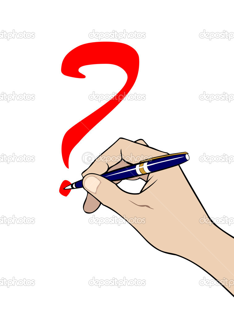 Hand with pen writing a question mark stock vector