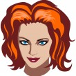Redhead woman face — Stock Vector