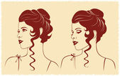 Woman face profile silhouette — Stock Vector