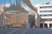 Reflective facade 'New Museum' Klarissenplatz Nuremberg — Stock Photo