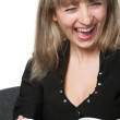 The laughing business woman with the cup of coffee — Stock Photo #5537729