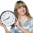 Business womwith clock in hands — Stock Photo #5537741