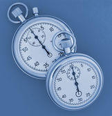 Two stopwatch blue toned — Stockfoto