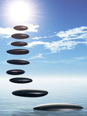 Path form zen stone to sun.Stock pebble rock on water and blue sky — Stock Photo