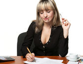 The business woman signs the contract — Stock Photo
