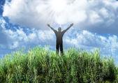 Soyut bir çayır adam silüeti — Stok fotoğraf