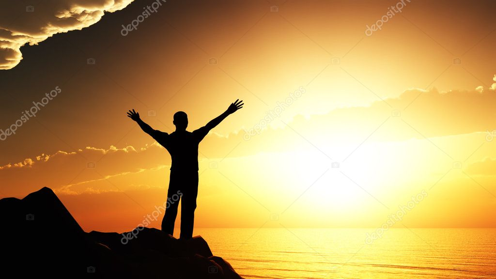Men greeting sun. Stands on hill, ocean and yellow sunset — Stock Photo #5537685