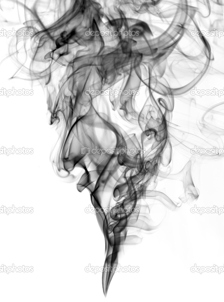 Black color smoke from white background  . The abstract image of a smoke on a white background  Stock Photo #5537889