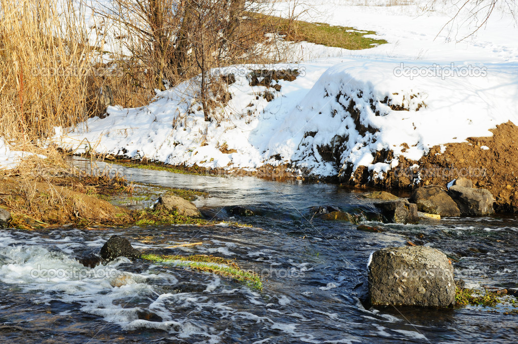 The spring river. A rough stream after a spring thawing weather — Stock Photo #5537891