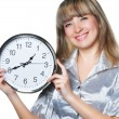 Business womwith clock in hands — Stock Photo #5944820
