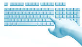 Fantastic hand over the computer keyboard — Stock Photo