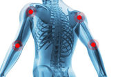 Esqueleto del hombre con los centros de dolor de las articulaciones — Foto de Stock
