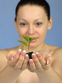 The woman holds in hands soil with a plant — Stock Photo