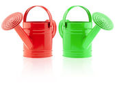 Two color watering can — Stock Photo